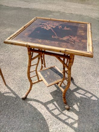 Antique Bamboo Occasional Table, Bamboo Side Table