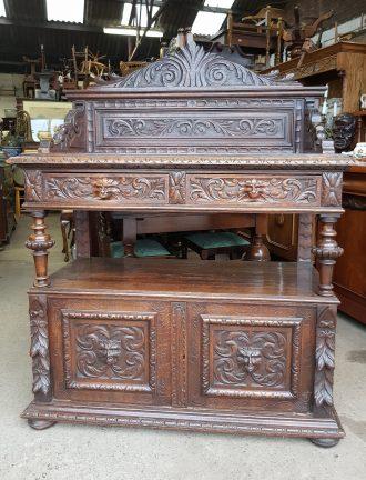 Heavily Carved Oak Sideboard / Server