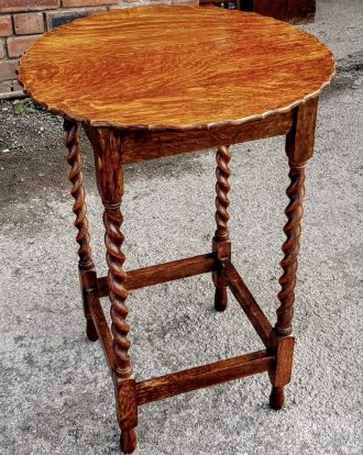 Barley-Twist Antique Oak Side Table, Lamp Table, Occasional Table