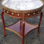 Antique Marble-Top Table, Round-Top Table, Side Table, Lamp Table, Occasional Table with raised Brass Gallery
